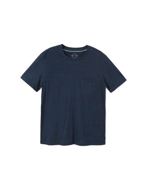 تی شرت نخی یقه گرد مردانه - سرمه اي - 1