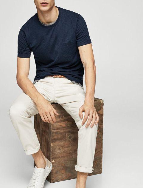 تی شرت نخی یقه گرد مردانه - سرمه اي - 5