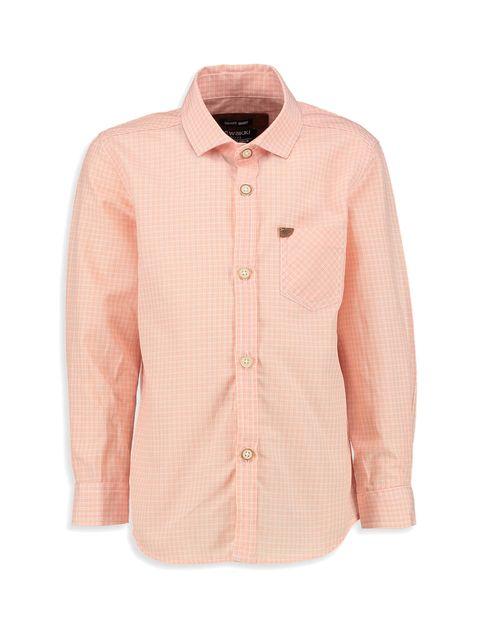 پیراهن نخی آستین بلند پسرانه - صورتي روشن - 1