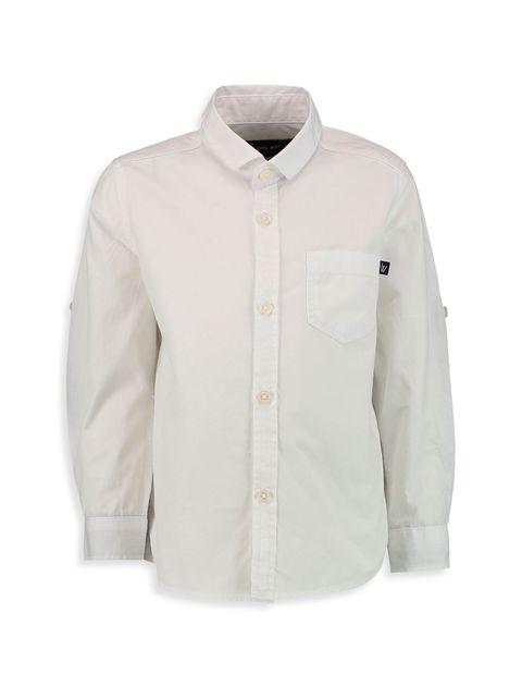 پیراهن نخی آستین بلند پسرانه - سفيد - 1