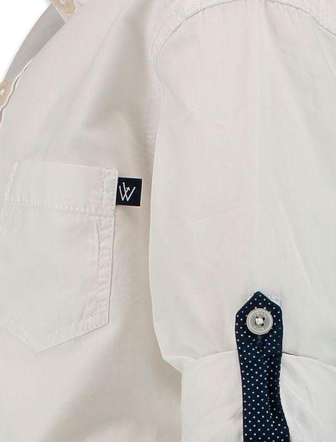 پیراهن نخی آستین بلند پسرانه - سفيد - 3
