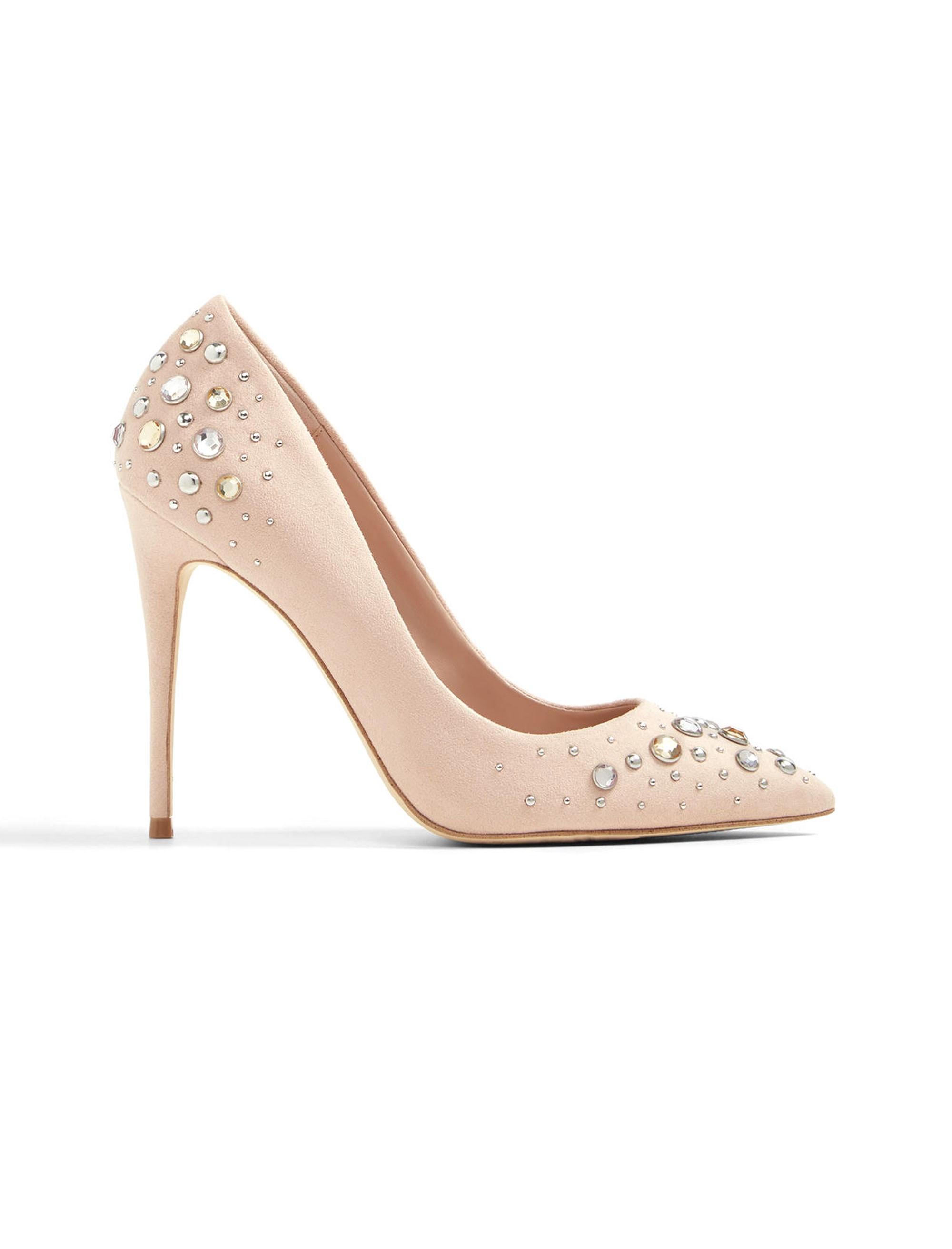 کفش پاشنه بلند زنانه - کرم صورتي - 1