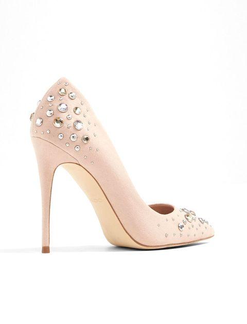 کفش پاشنه بلند زنانه - کرم صورتي - 2