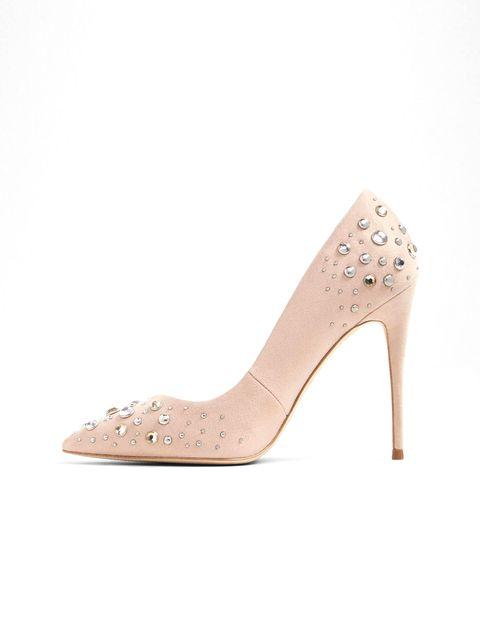 کفش پاشنه بلند زنانه - کرم صورتي - 3
