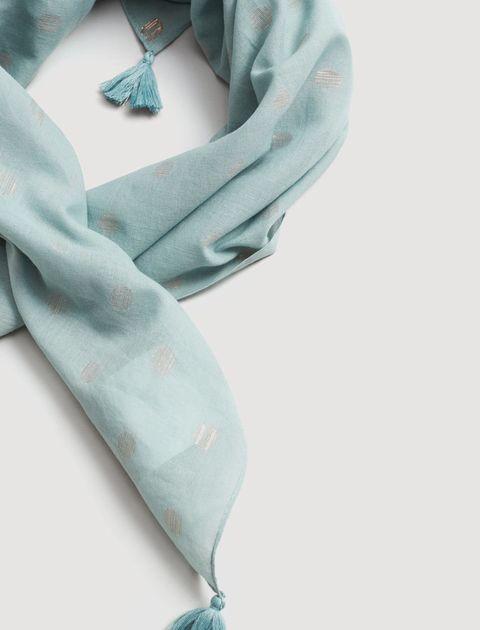 روسری نخی طرح دار زنانه - مانگو - آبي روشن - 2