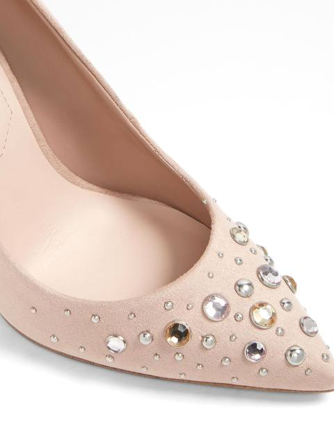 کفش پاشنه بلند زنانه - کرم صورتي - 4