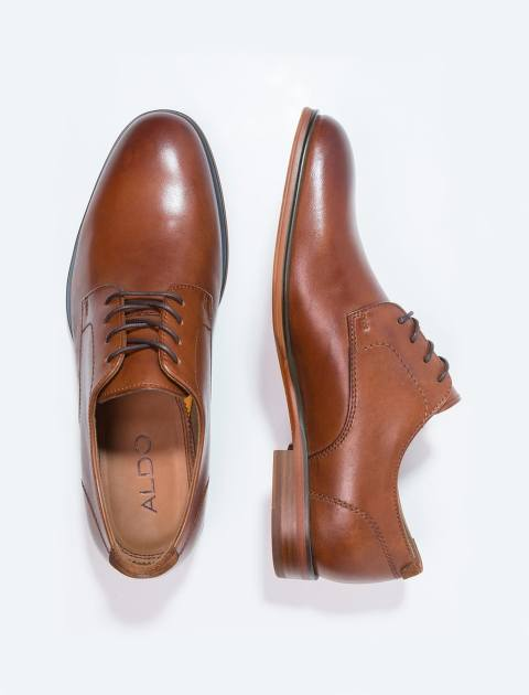 کفش چرم اداری مردانه - قهوه اي - 2