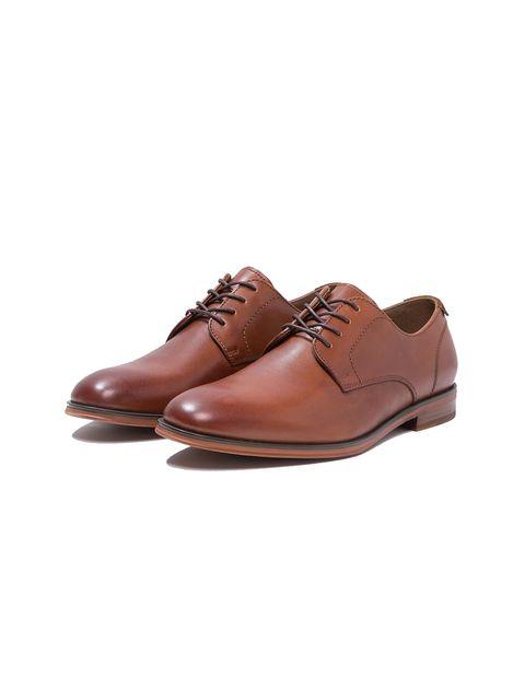کفش چرم اداری مردانه - قهوه اي - 4