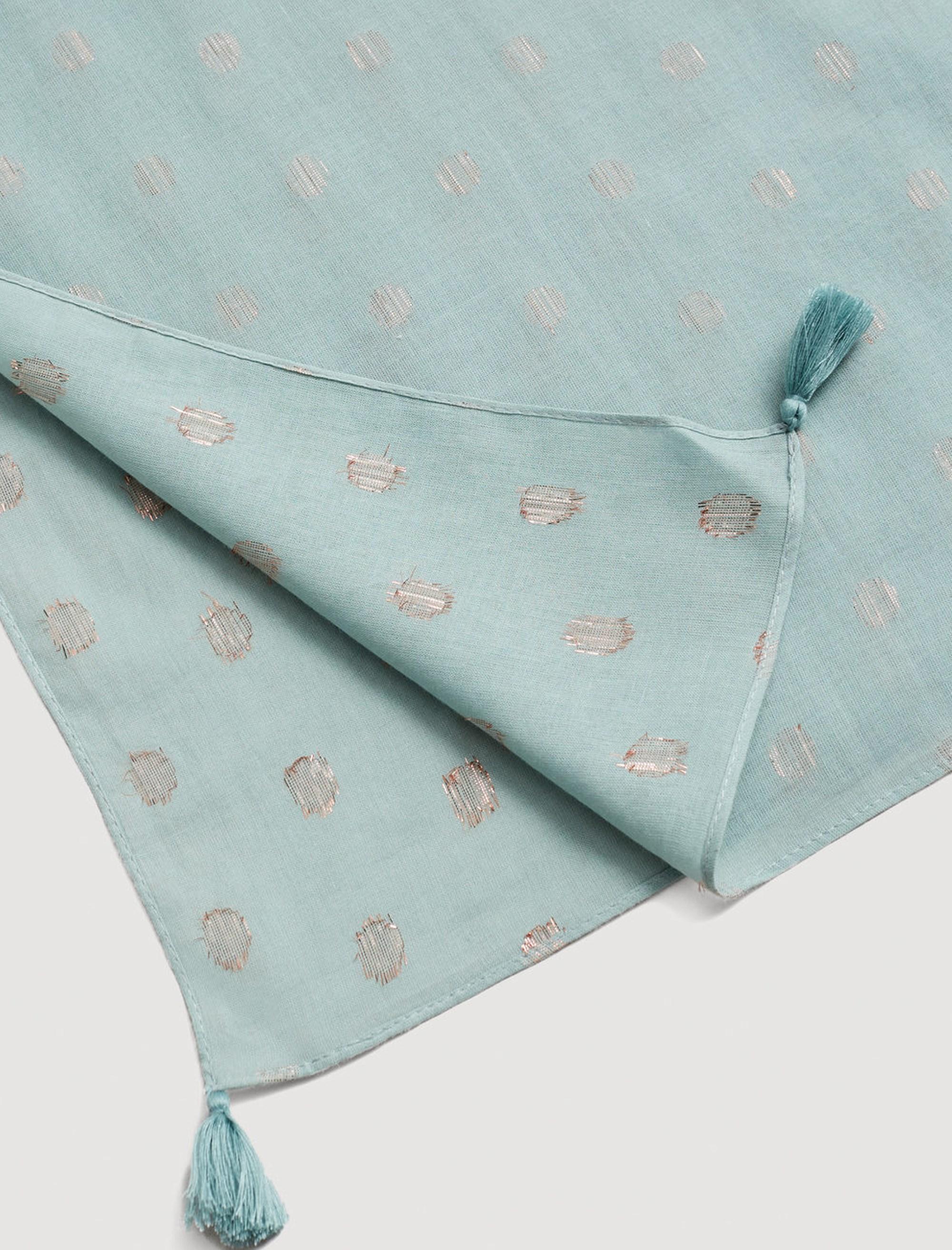 روسری نخی طرح دار زنانه - مانگو - آبي روشن - 3