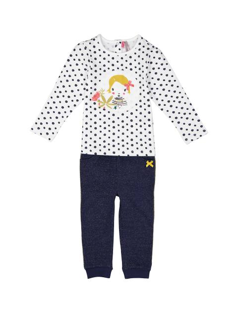 تی شرت و شلوار نخی نوزادی دخترانه - سفيد و سرمه اي - 1