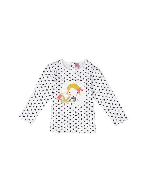 تی شرت و شلوار نخی نوزادی دخترانه - سفيد و سرمه اي - 2