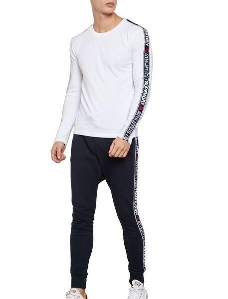 تی شرت نخی آستین بلند مردانه - سفيد - 1