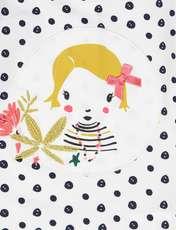 تی شرت و شلوار نخی نوزادی دخترانه - سفيد و سرمه اي - 6
