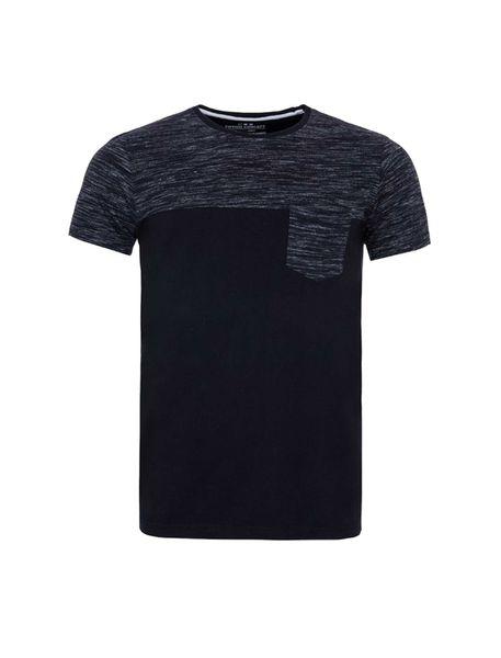 تی شرت نخی یقه گرد مردانه - مشکي - 1
