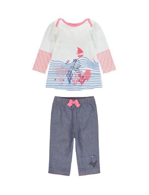 تی شرت و شلوار نخی نوزادی دخترانه - سفيد/سرمه اي - 1