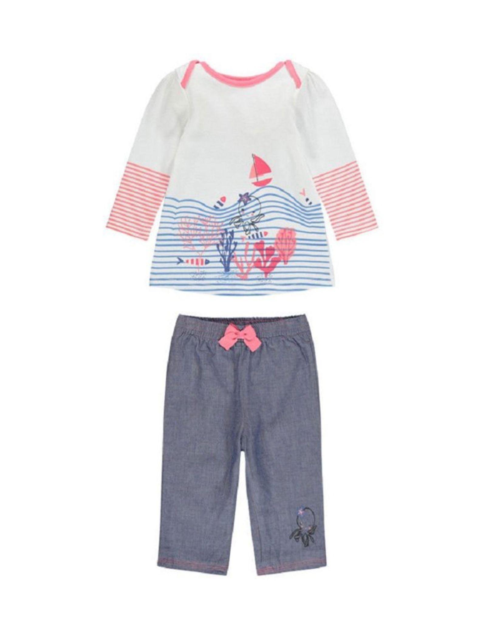 تی شرت و شلوار نخی نوزادی دخترانه - ارکسترا - سفيد/سرمه اي - 1