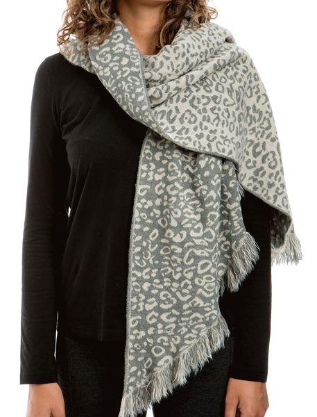 روسری طرح دار زنانه - سفيد و طوسي - 2