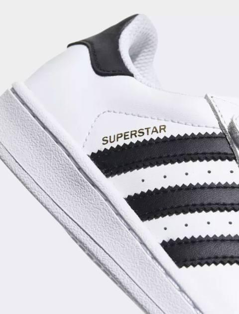 کتانی چرم چسبی بچگانه Superstar Foundation - سفيد  - 6