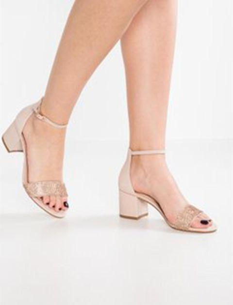 کفش پاشنه بلند زنانه - کرم صورتي - 5