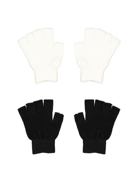 دستکش بدون انگشت زنانه بسته 2 عددی - سفيد و مشکي - 1