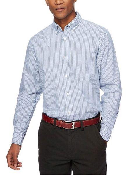 پیراهن نخی مردانه - آبي - 3