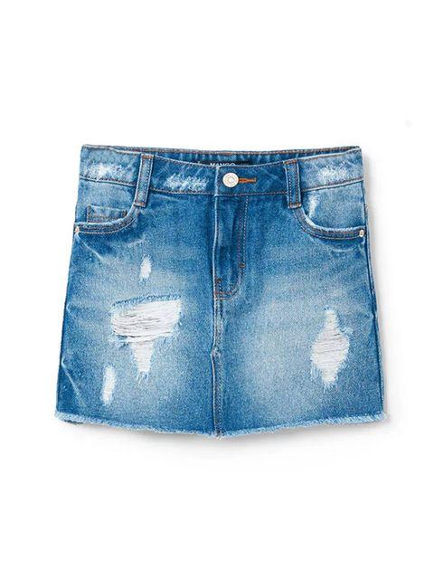 دامن جین کوتاه دخترانه - آبي - 1