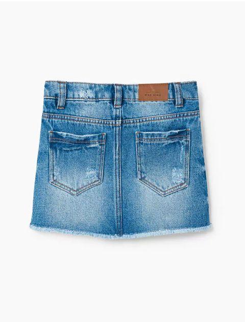 دامن جین کوتاه دخترانه - آبي - 2
