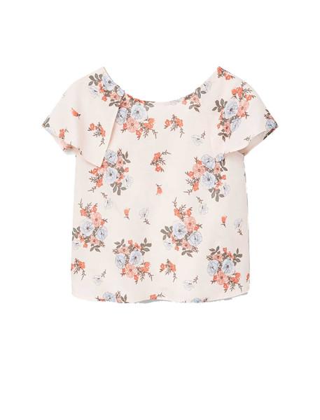 تی شرت ویسکوز یقه گرد دخترانه - مانگو