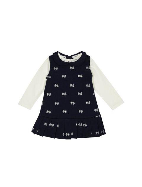 سارافون و تی شرت نخی نوزادی دخترانه - سرمه اي و سفيد - 1