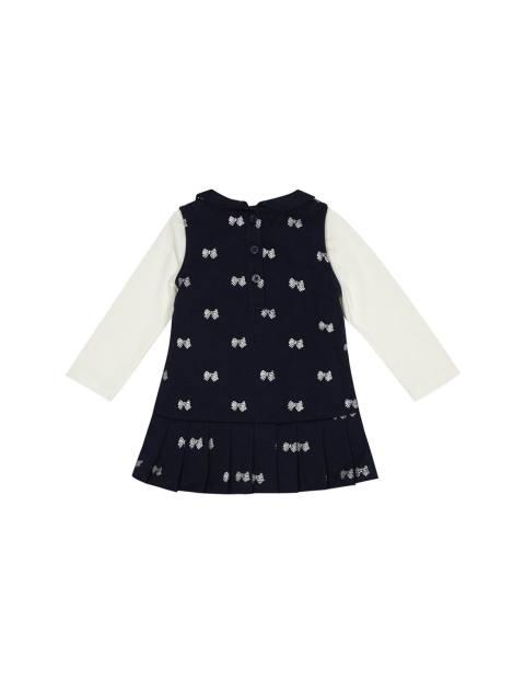 سارافون و تی شرت نخی نوزادی دخترانه - سرمه اي و سفيد - 2