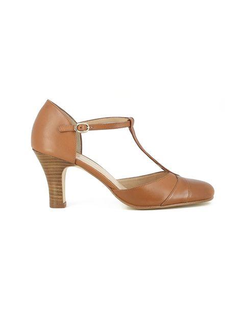 کفش چرم پاشنه بلند زنانه - ژوناک - قهوه اي روشن - 1