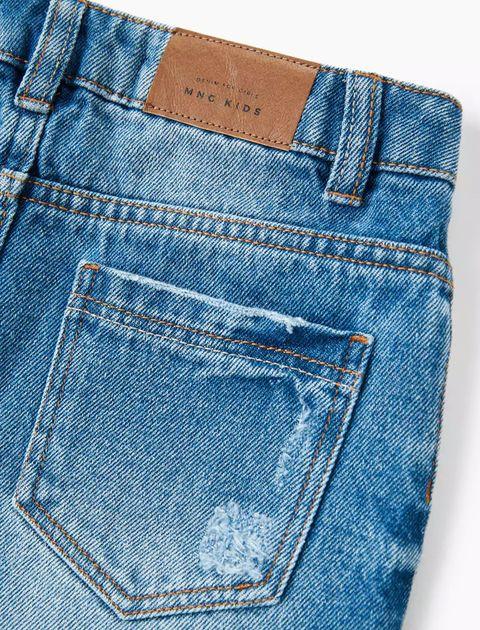 دامن جین کوتاه دخترانه - آبي - 4