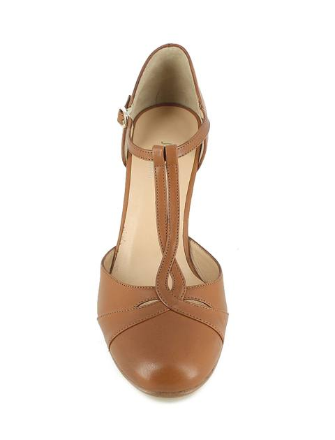 کفش چرم پاشنه بلند زنانه - ژوناک - قهوه اي روشن - 2