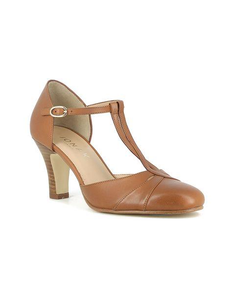 کفش چرم پاشنه بلند زنانه - ژوناک - قهوه اي روشن - 3