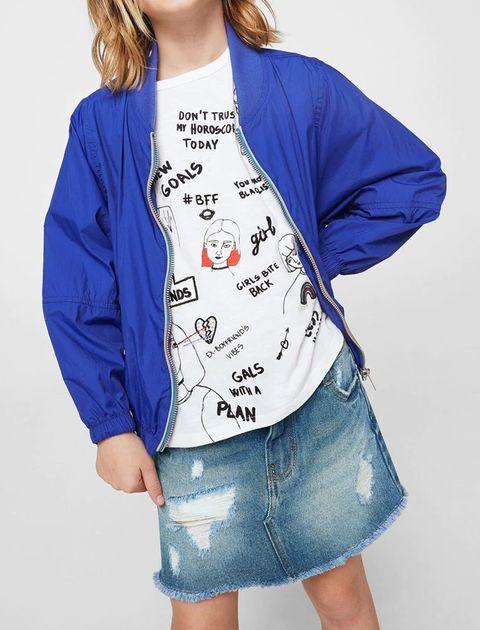 دامن جین کوتاه دخترانه - آبي - 6