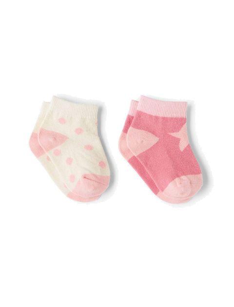جوراب نخی نوزادی بسته 2 عددی - صورتي  - 2