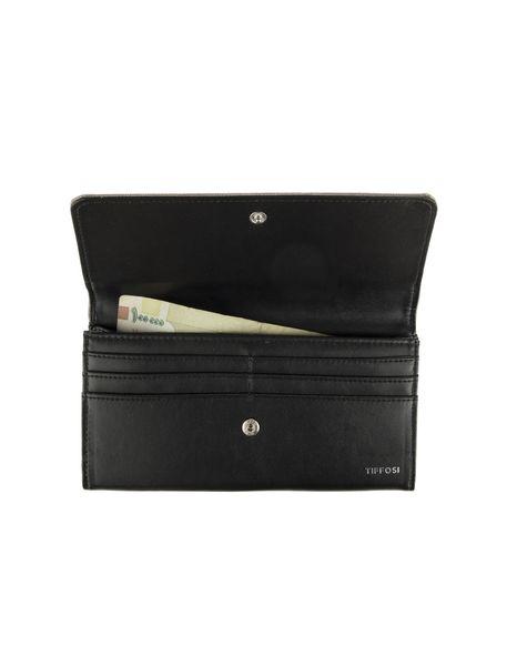 کیف پول دکمه دار زنانه - مشکي و بژ - 4