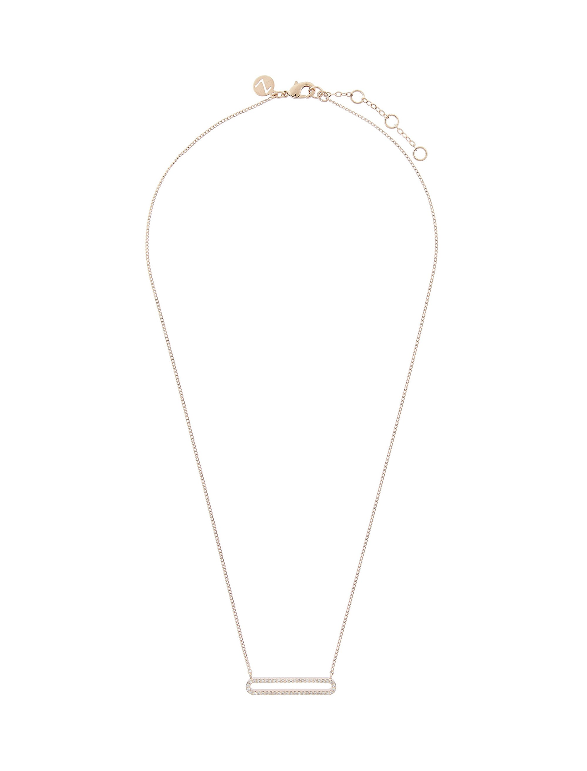 قیمت گردنبند برنجی آویز زنانه Diamante Oval - اکسسوریز