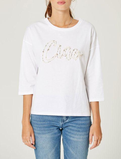 تی شرت نخی یقه گرد زنانه - جنیفر - سفيد   - 3