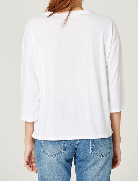 تی شرت نخی یقه گرد زنانه - جنیفر - سفيد   - 4