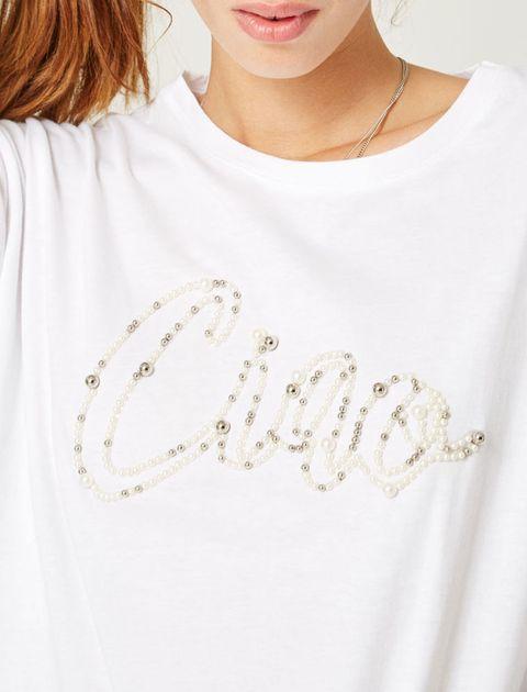تی شرت نخی یقه گرد زنانه - جنیفر - سفيد   - 5