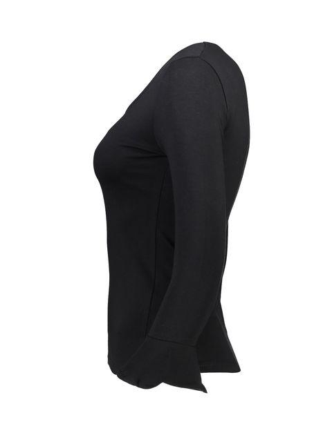 تی شرت نخی یقه گرد زنانه - جنیفر - مشکي - 3