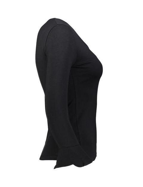 تی شرت نخی یقه گرد زنانه - جنیفر - مشکي - 4