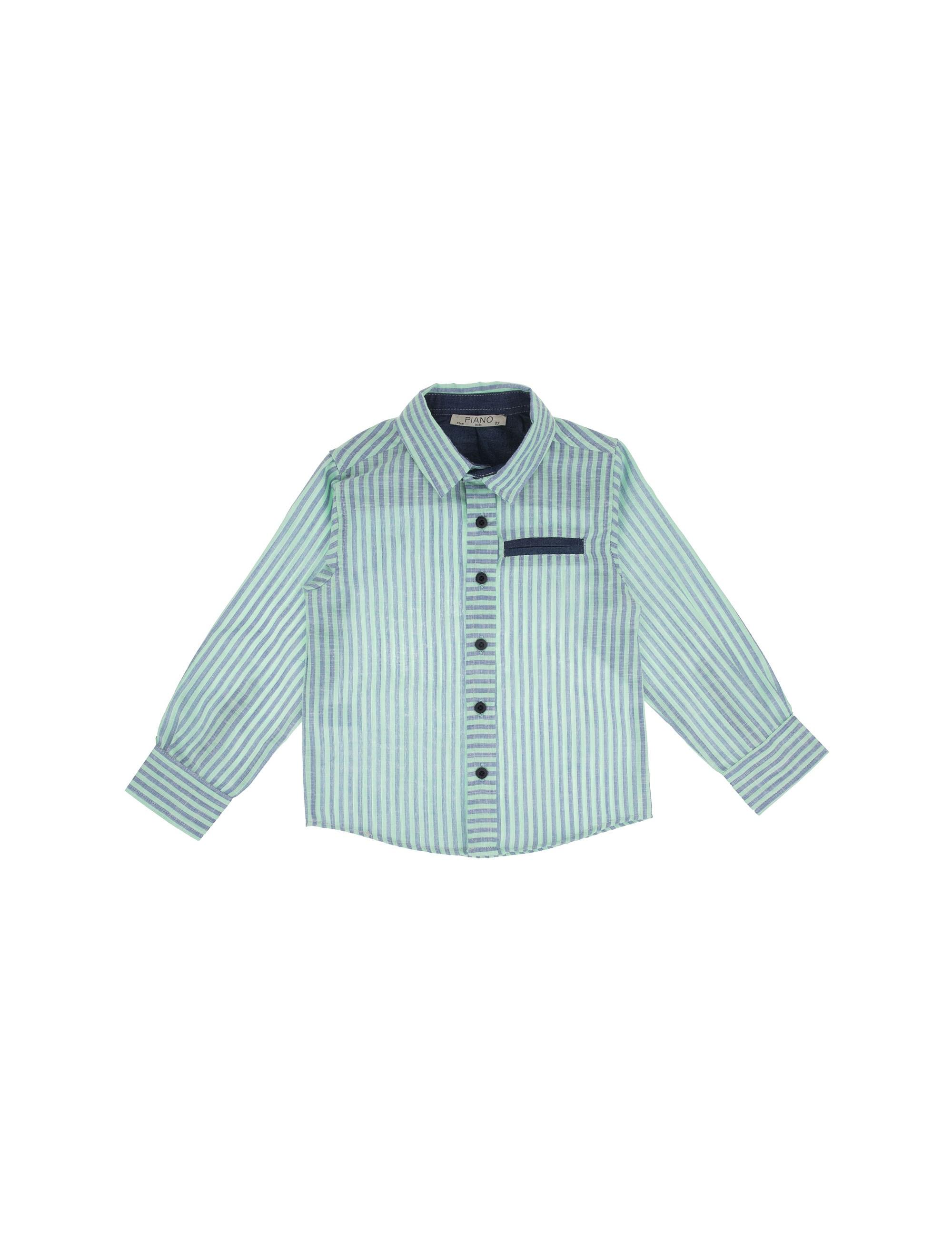 پیراهن نخی آستین بلند پسرانه - سبز  - 1