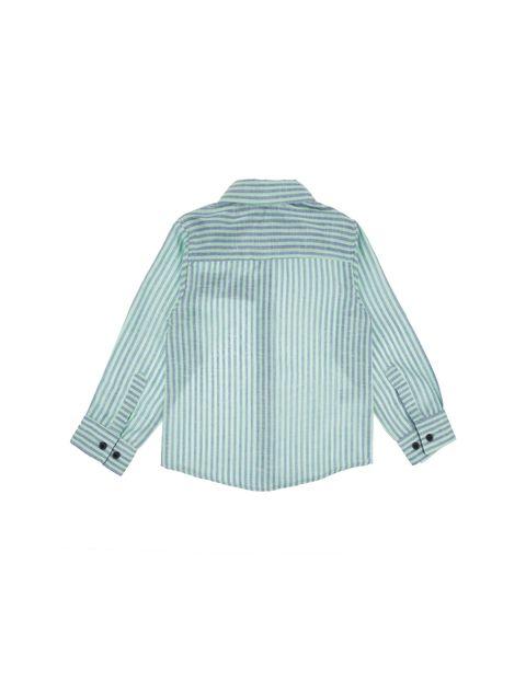 پیراهن نخی آستین بلند پسرانه - سبز  - 2