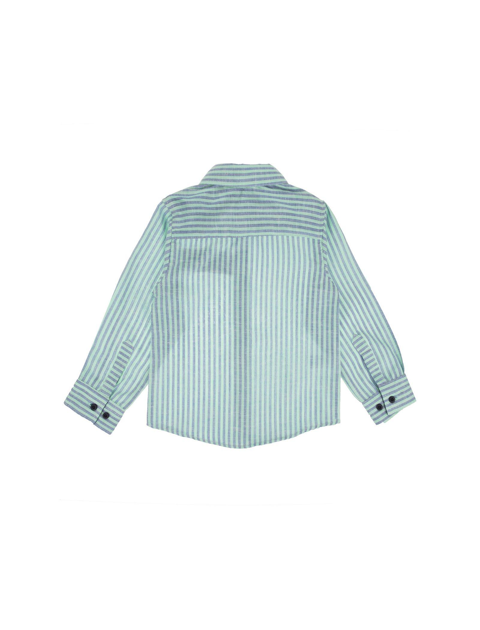 پیراهن نخی آستین بلند پسرانه - پیانو - سبز  - 2