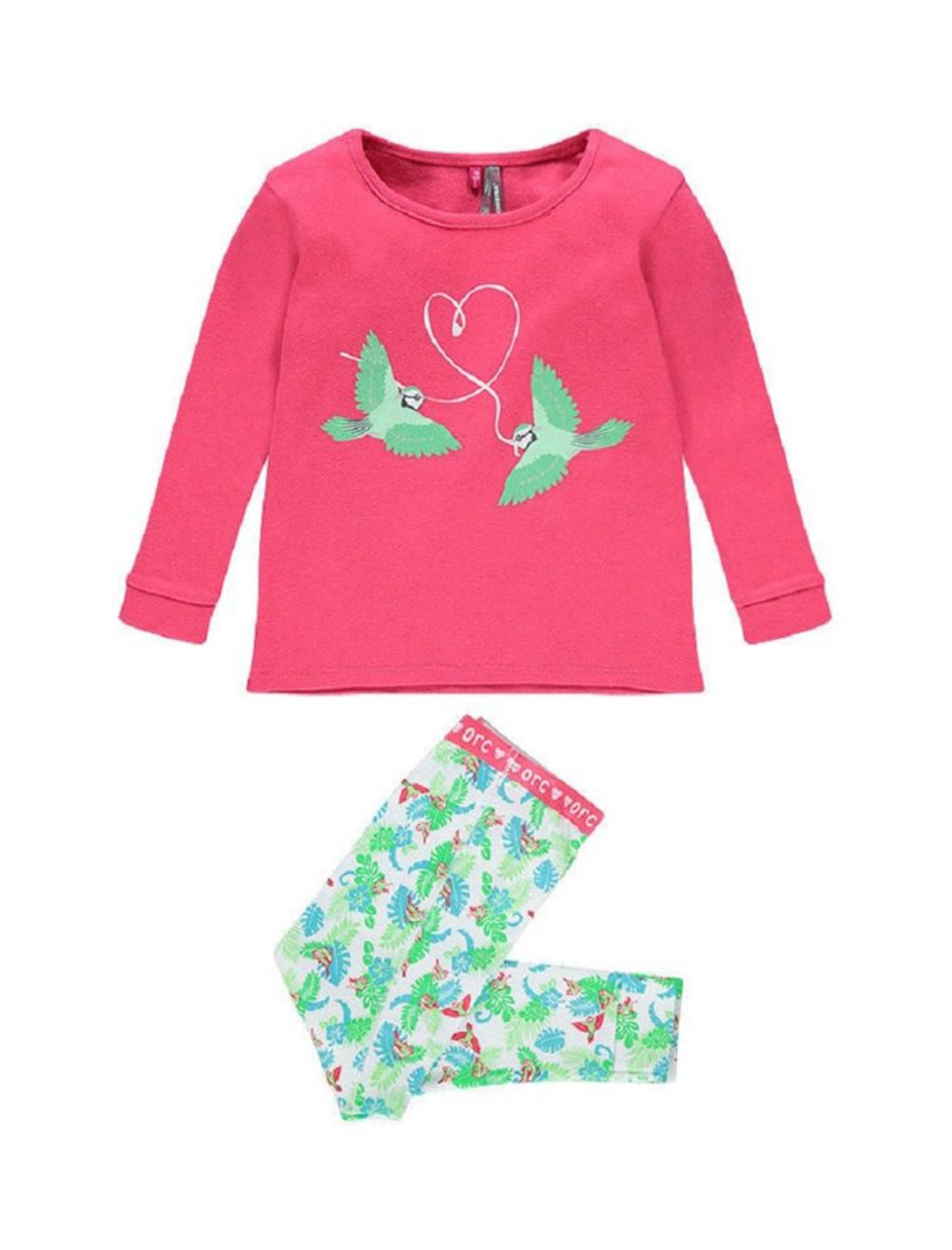 تی شرت و شلوار راحتی نخی نوزادی دخترانه - ارکسترا - چند رنگ - 1