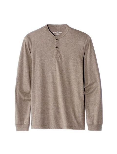 تی شرت نخی یقه گرد مردانه - کرم - 1