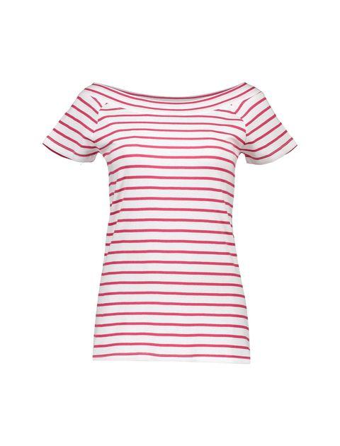 تی شرت نخی یقه گرد زنانه - قرمز - 1