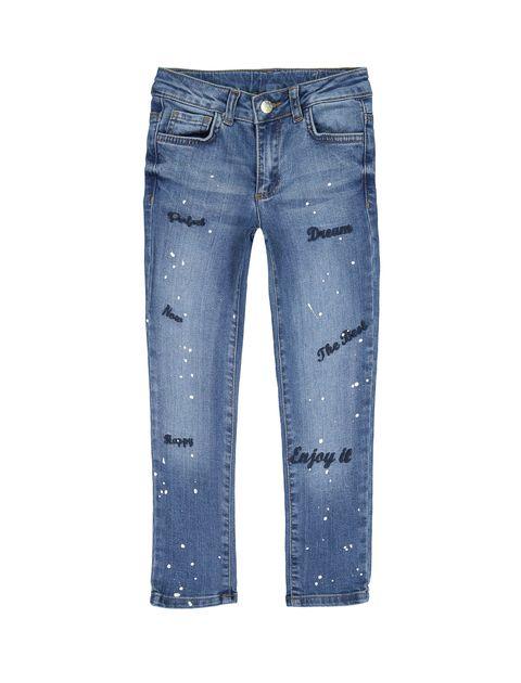 شلوار جین راسته دخترانه - آبي - 1